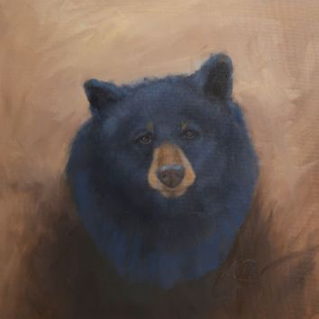 "Ursus americanus portrait. Original oil painting, 16""x20"". Available. You can also buy this image printed on home décor items such as canvas prints and even pillows and coasters. See the Shop tab for more details."