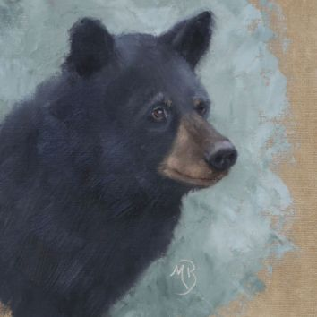 "Ursus americanus portrait. Original oil painting, 11""x14"". Available. You can also buy this image printed on home décor items such as canvas prints and even pillows and coasters. See the Shop tab for more details."