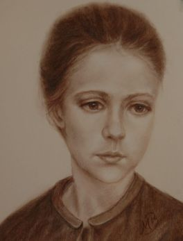 "Portrait on toned paper, brown conte crayon. 9""x12"". Available."