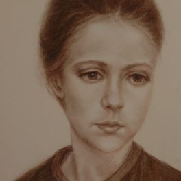 """Portrait on toned paper, brown conte crayon. 9""""x12"""". Available."""