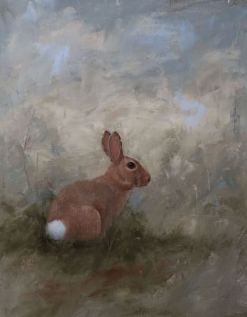 """More than half the world's population of rabbits live in North America. Summer mornings would not be the same without them. Original oil painting, 11""""x14"""". Available. You can also buy this image printed on home décor items such as canvas prints and even pillows and coasters. See the Shop tab for more details."""