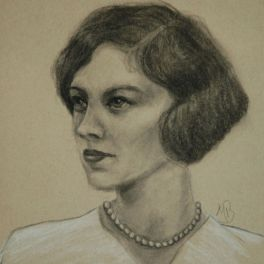 Charcoal and conte portrait on toned paper. Not for sale.
