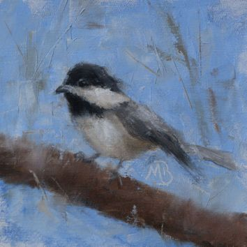"Chickadee, a companion piece to my other chickadee painting. Original oil painting, 6""x6"". Available. You can also buy this image printed on home décor items such as canvas prints and even pillows and coasters. See the Shop tab for more details."
