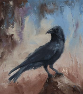 """Crows are large black birds that are known for their intelligence and adaptability. 8""""x10"""" original oil painting. Available. You can also buy this image printed on home décor items such as canvas prints and even pillows and coasters. See the Shop tab for more details."""