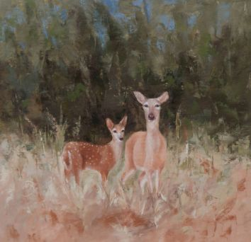 "A protective momma and her fawn at the edge of a forest. 16""x16"" original oil painting. Available. You can also buy this image printed on home décor items such as canvas prints and even pillows and coasters. See the Shop tab for more details."