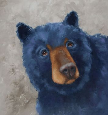 "A young colorful bear saying hello. 16""x16"" original oil painting. Available. You can also buy this image printed on home décor items such as canvas prints and even pillows and coasters. See the Shop tab for more details."