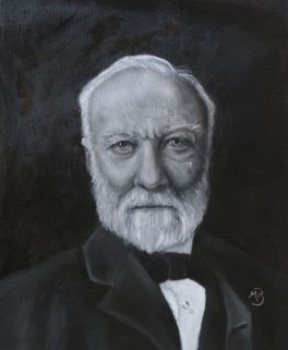 "Black and white oil painting of Andrew Carnegie, 16""x20"". Available."