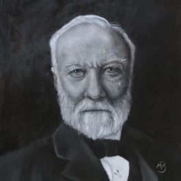 """Black and white oil painting of Andrew Carnegie, 16""""x20"""". Available."""