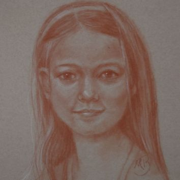 """Sanguine pencil drawing on toned paper. 9""""x12"""". Available"""
