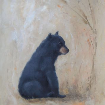 """Young black bear sitting in a meadow. Original oil painting on canvas, 11""""x14"""". Available. You can also buy this image printed on home décor items such as canvas prints and even pillows and coasters. See the Shop tab for more details."""