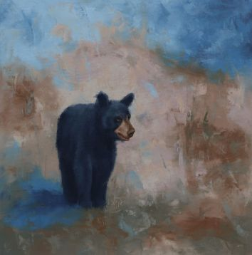 "Young black bear exploring her world. Original oil painting on canvas. 16""x16"". Available. You can also buy this image printed on home décor items such as canvas prints and even pillows and coasters. See the Shop tab for more details."
