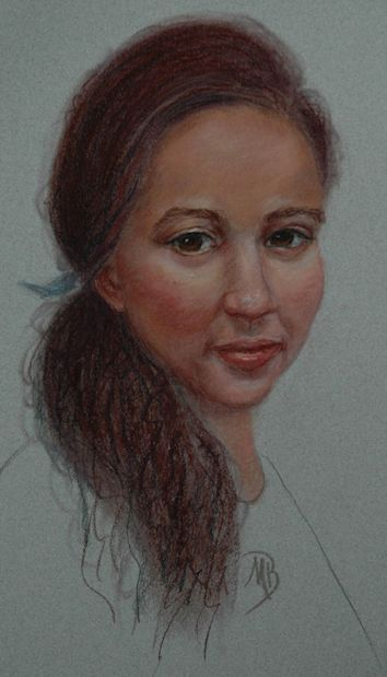 Pastel portrait of Taryn on toned paper. Not for sale.