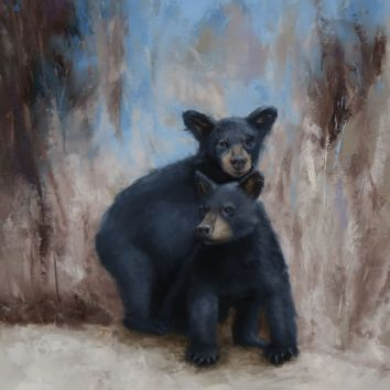 "Two bear cubs tumbling in play. Original oil painting on canvas. 16""x20"". Available. You can also buy this image printed on home décor items such as canvas prints and even pillows and coasters. See the Shop tab for more details."