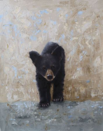 "Young bear cub. Original oil painting created with palette knives. 16""x20"". Available. You can also buy this image printed on home décor items such as canvas prints and even pillows and coasters. See the Shop tab for more details."