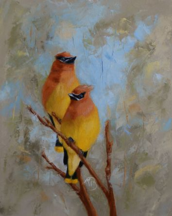 """If you've never seen or heard flocks of Cedar Waxwings descend on berry-laden trees and hedges, to flutter among the branches as they feast, you are missing out. 11x14"""" oil on canvas. Sold."""