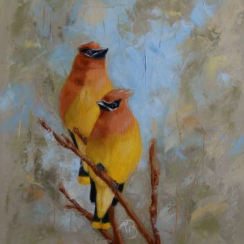 "If you've never seen or heard flocks of Cedar Waxwings descend on berry-laden trees and hedges, to flutter among the branches as they feast, you are missing out. 11x14"" oil on canvas. Sold."