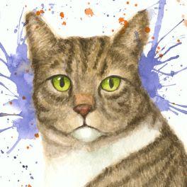 Festive Kitty, watercolor