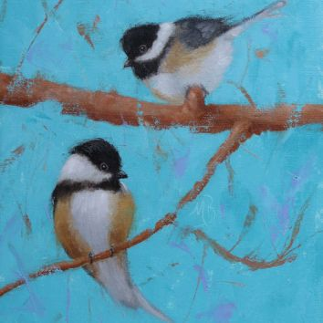 """Two sweet Chickadees, 11""""x14"""" oil painting."""
