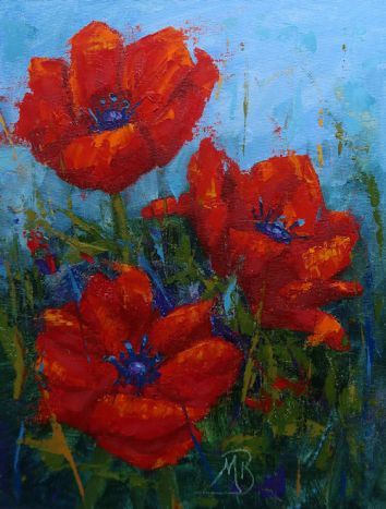 """This is an 8""""x10"""" oil painting done primarily with palette knives."""
