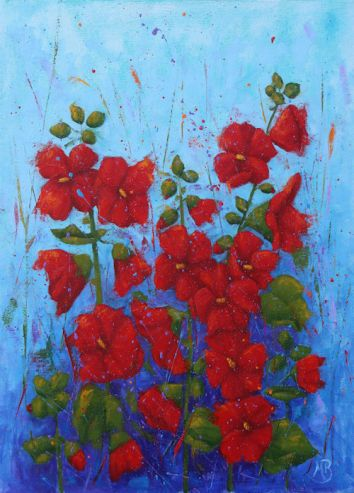 """A field of red Gladiolus, 18""""x24"""" oil painting on canvas."""