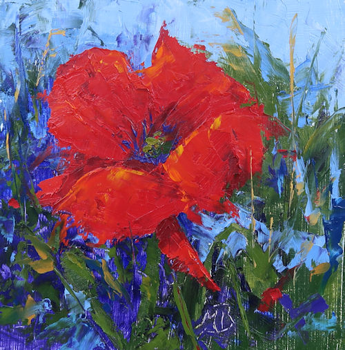"""SOLD! Red Poppy, a 6"""" x 6"""" oil painting on panel, done primarily with palette knife."""