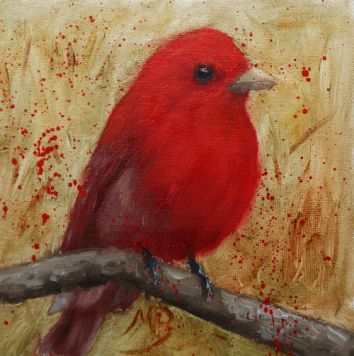 """A bright Summer Tanager, a 6"""" x 6"""" oil painting on panel."""
